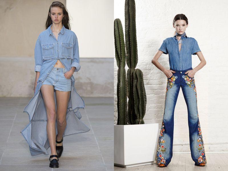 джинсы 2019, модные тенденции в тканях 2019, фото
