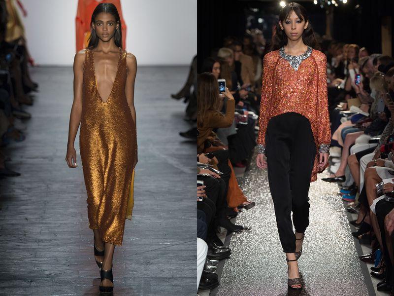 модные ткани, блестящие цвета, тенденции весна 2019, фото