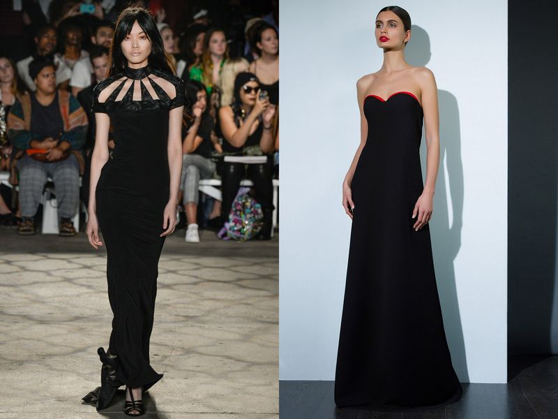 Шикарные черные платья в пол фото