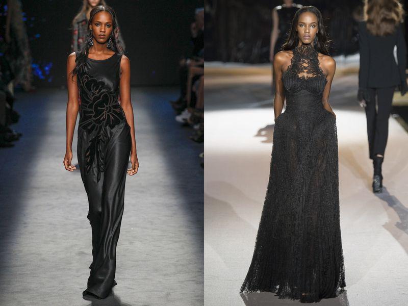 Мода черное вечернее платье