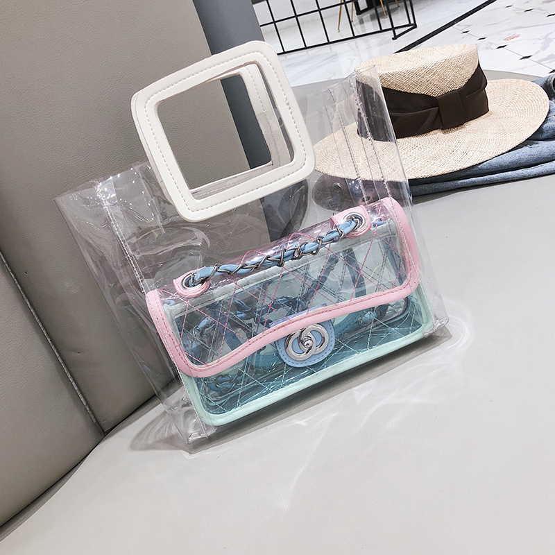 Летняя прозрачная пляжная сумка в стиле Шанель.