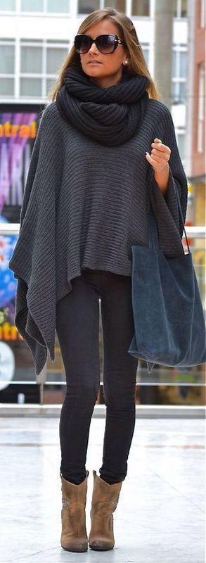 Как носить пончо с шарфом снудом