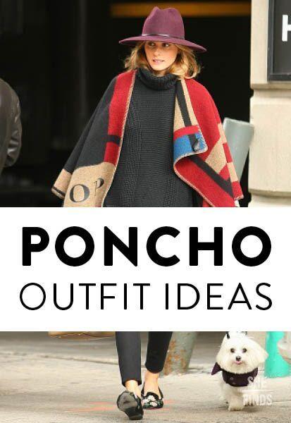 Как и чем носить пончо: модные идеи
