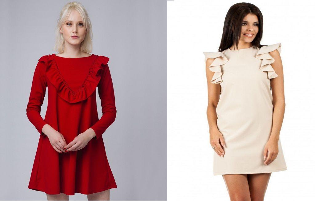 Платья с оборками в области плеч